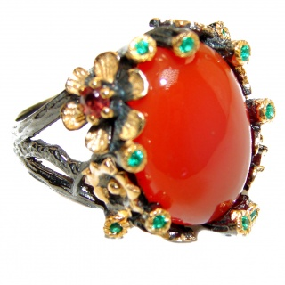 Bianca Genuine Carnelian 14K Gold over .925 Sterling Silver handmade Ring Size 7 1/4