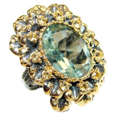 Spectacular Natural Green Amethyst 18K Gold over .925 Sterling Silver handcrafted ring size 6 1/4