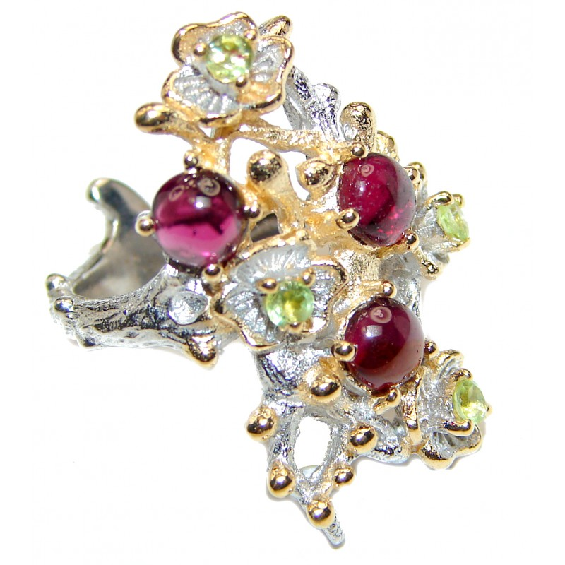 Dazzling natural Red Garnet Peridot & .925 Sterling Silver handcrafted ring size 7 1/4