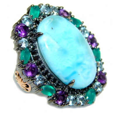 Emily Real Beauty Natural Larimar black rhodium .925 Sterling Silver handcrafted Large Ring s. 7