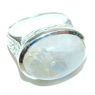 Rainbow Moonstone .925 Sterling Silver handmade Ring size 7 1/2