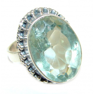 Chunky Green Amethyst .925 Sterling Silver handcrafted ring s. 8