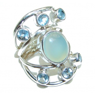 Very Bold Chalcedony Agate .925 Sterling Silver Ring size 6