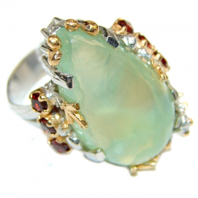 JUICY Natural Prehnite Peridot 14K Gold over .925 Sterling Silver handmade ring s. 7 adjustable