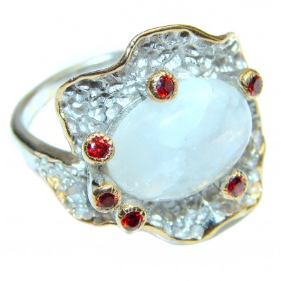 Rainbow Moonstone .925 Sterling Silver handmade Ring size 8 1/4