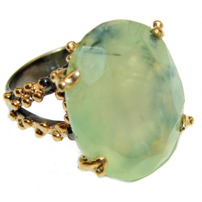 JUICY Natural Prehnite Peridot 14K Gold over .925 Sterling Silver handmade ring s. 5 3/4