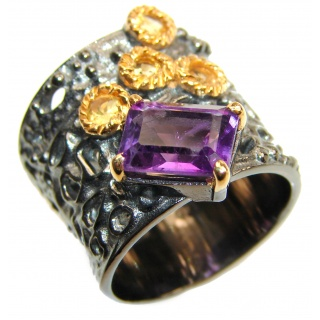 Royal purple authentic Amethyst .925 Sterling Silver Statement Ring size 6