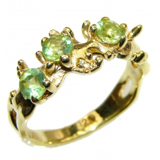 Green Reef Peridot 14K Gold over .925 Sterling Silver Ring size 7 1/4