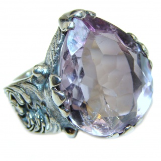 Jumbo Vintage Style Amethyst .925 Sterling Silver handmade Cocktail Ring s. 6 1/4