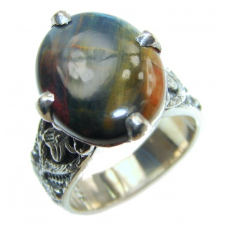 Silky Black Pietersite .925 Sterling Silver handmade Ring size 7 1/4