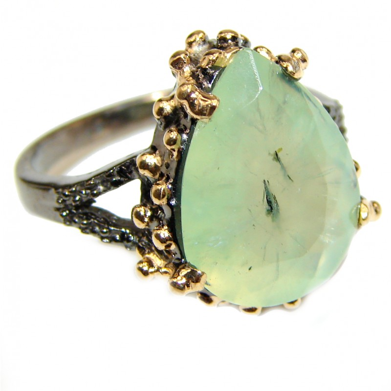 Natural Prehnite Peridot black rhodium over .925 Sterling Silver handmade ring s. 8 1/4