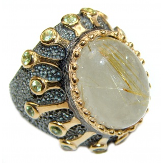 Golden Rutilated Quartz .925 Sterling Silver handcrafted Ring Size 7 1/2
