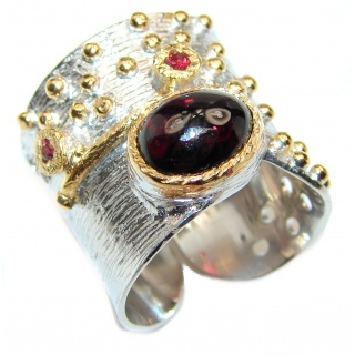 Genuine Garnet 2 tones .925 Sterling Silver handcrafted Statement Ring size 7 adjustable