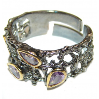 Purple Perfection Amethyst .925 Sterling Silver Ring size 6 adjustable