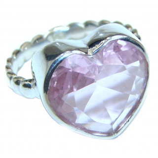 Sweet Heart Pink Topaz .925 Silver handcrafted Ring s. 7 3/4