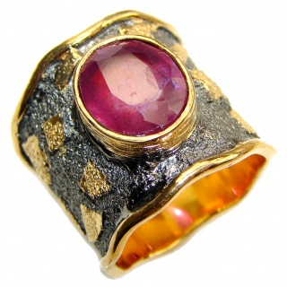 Genuine Kashmir Ruby 18K Gold .925 Sterling Silver handcrafted Statement Ring size 6 1/2