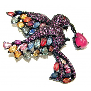 Large Beauty genuine multicolor Sapphire Ruby .925 Sterling Silver handmade Pendant - Brooch