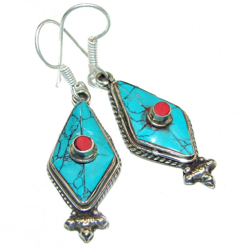 Turquoise and Coral Motif earrings