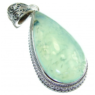 Beautiful genuine Prehnite .925 Sterling Silver handcrafted LARGE Pendant