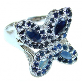 Sublime Butterfly authentic Sapphire .925 Sterling Silver handmade Ring s. 8