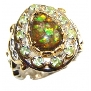 Outstanding Genuine Canadian Ammolite 18K Gold over .925 Sterling Silver handmade ring size 8
