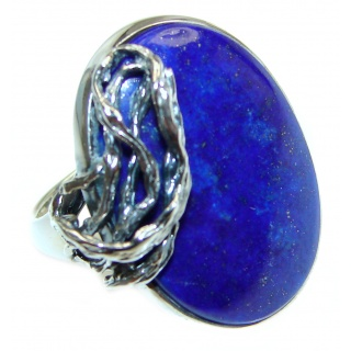 LARGE Natural Lapis Lazuli .925 Sterling Silver handcrafted ring size 8 1/4