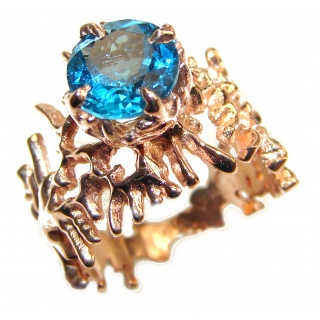 Poseidon Swiss Blue Topaz 18K Gold over .925 Sterling Silver handmade Ring size 7 1/2