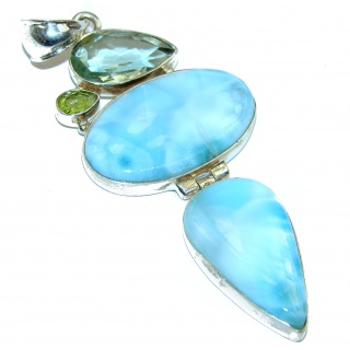 Authentic Larimar .925 Sterling Silver handmade Pendant