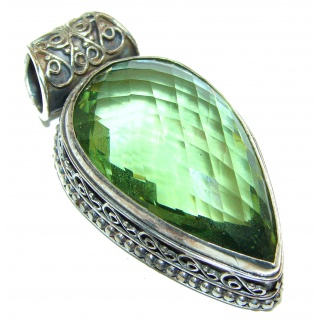 Spectacular Green Topaz .925 Sterling Silver handcrafted pendant