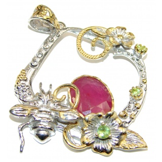 Enchanted Garden Ruby 2 tones .925 Sterling Silver handcrafted pendant