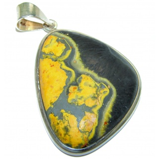 Vivid Beauty Yellow Bumble Bee oxidized .925 Jasper Sterling Silver pendant
