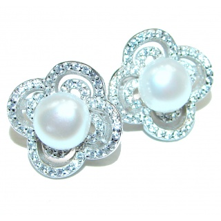 Real Beauty White Pearl .925 Sterling Silver handmade Earrings