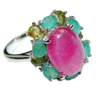 Genuine 5 ctw Kashmir Ruby Grandidierite .925 Sterling Silver handcrafted Statement Ring size 7 1/4
