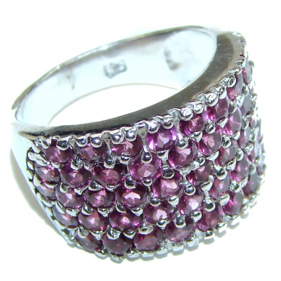 Dazzling natural Red Garnet & .925 Sterling Silver handcrafted ring size 7 1/2