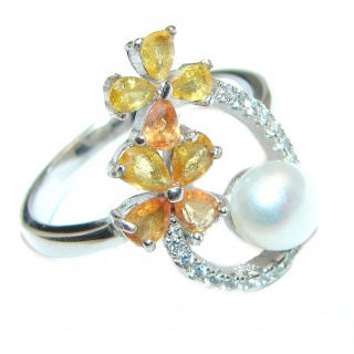 Blister Pearl yellow Sapphire .925 Sterling Silver handmade ring size 7 3/4