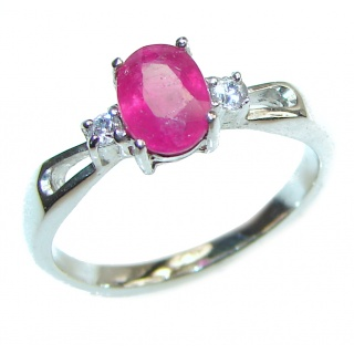Genuine 0.8 ctw Kashmir Ruby .925 Sterling Silver handcrafted Statement Ring size 7