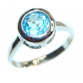 Melissa Genuine Swiss Blue Topaz .925 Sterling Silver handcrafted Statement Ring size 6 1/4
