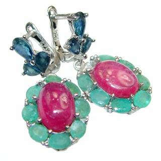 Stunning Authentic Ruby Emerald Sapphire .925 Sterling Silver handmade earrings