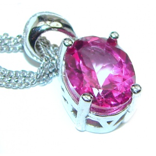 Oval cut Pink Sapphire .925 Sterling Silver handcrafted necklace