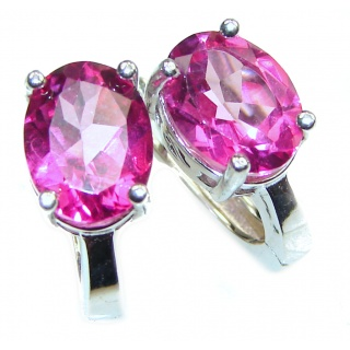 Precious Pink Sapphire .925 Sterling Silver entirely handmade earrings