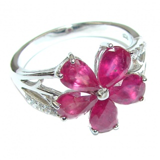Genuine authentic Ruby .925 Sterling Silver handcrafted Ring size 6 1/4