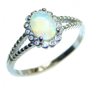 Vintage Design 2.5ctw Genuine Ethiopian Opal .925 Sterling Silver handmade Ring size 8 1/4