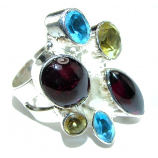 Large Genuine Garnet black rhodium .925 Sterling Silver handcrafted Statement Ring size 9