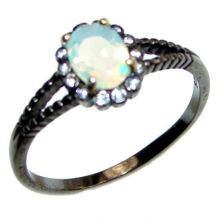 Vintage Design 2.5ctw Genuine Ethiopian Opal .925 Sterling Silver handmade Ring size 9 1/4