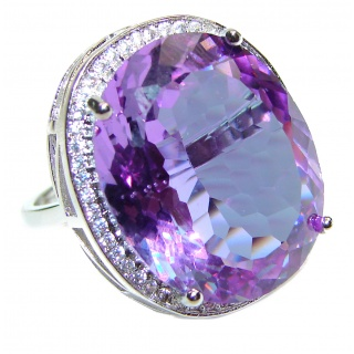 Huge Precious Alexandrite .925 Sterling Silver Statement HUGE Ring s. 8