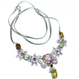 Sublime Natural Tourmaline .925 Sterling Silver handcarfted Necklace