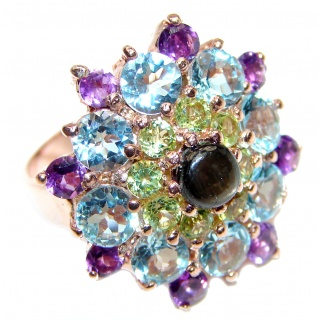 Vintage Design 5ctw Genuine Black Opal Tanzanite .925 Sterling Silver handmade Ring size 7