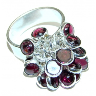 Genuine Ruby Garnet .925 Sterling Silver handcrafted cha- cha Ring size 7