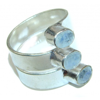 Rainbow Moonstone .925 Sterling Silver handmade Ring size 10 1/2