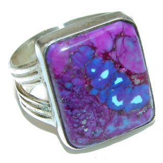Purple Turquoise .925 Sterling Silver handcrafted ring; s. 9 1/2
